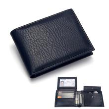 Роскошный мужской бумажник, кожаный однотонный бумажник, мужской кошелек из искусственной кожи, Двойные Короткие кредитные визитницы, кошельки для монет, бизнес-кошелек для мужчин
