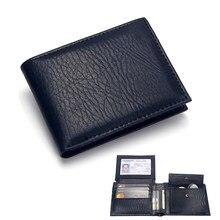 Роскошный мужской бумажник, кожаный однотонный бумажник, мужской кошелек из искусственной кожи, Двойные Короткие кредитные визитницы, коше...