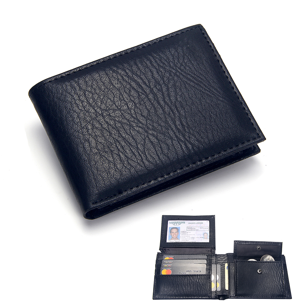 Luxury Men's Wallet Leather Solid Slim Wallets Men Pu Leather Bifold Short Credit Card Holders Coin Purses Business Purse Male title=