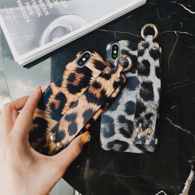 100% De Qualité Imprimé Léopard Pu Cuir Souple Coque Pour Iphone 6 7 8 Plus X Xr Xs Max Léopard étuis Pour Iphone 6 6 S Plus Bracelet Couverture De Stand Artisanat D'Art