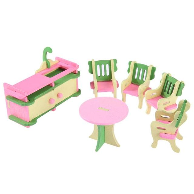 Mini Wooden Simulation Dollhouse Educational Toy Furniture Set Room Bedroom Pretend Play Dolls Toy Kids Children Kids Xmas Gift