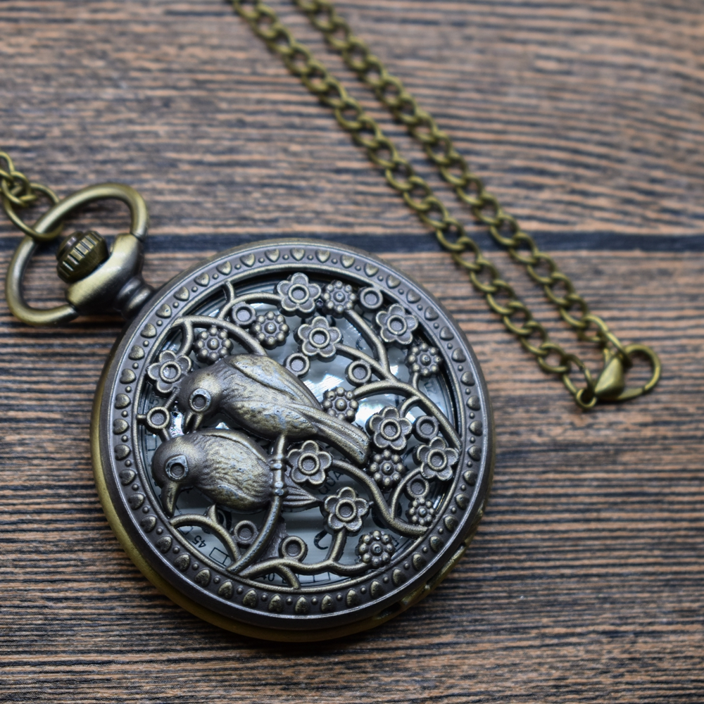 Pocket & Fob Watches Bronze Hollow Out Animal  Magpie Birds Flower Quartz Pocket Watches Necklace Women/Mens  Pendant Watch Gift