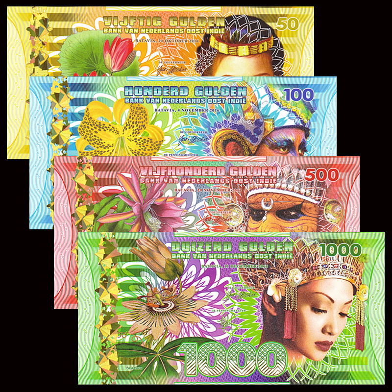Netherlands India Set 4 PCS, Fancy Notes, Commemorative , Polymer, UNC, Collection, Gift, Asian Original