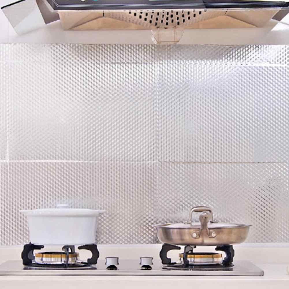 40X100CM Viền Nhôm Tự Dính Chống Thấm Nước chống dầu Giấy Dán Tường Ngôi Nhà MÔ Phòng bếp Dán Trang Trí Treo Tường declas