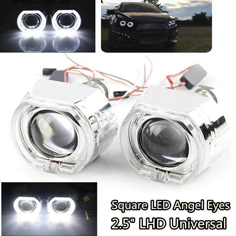 1 paire carré LED Angel Eyes Halo DRL Bi Xenon lentille voiture projecteur phare HID Auto Tuning Kit H4 H7 pour H1 ampoule