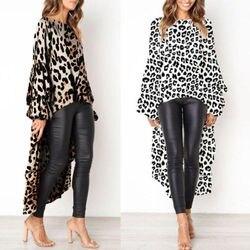 2019 Newest Fashion Women Leopard Print Casual High Split Tops Long Maxi Shirt Dress Sexy 5