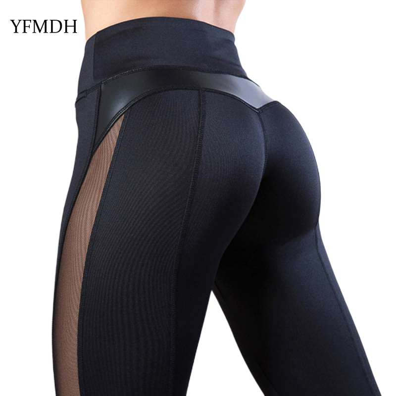 Sexy Women   Leggings   Patchwork Mesh Black Workout Casual Plus Size Fitness Sport Pants Trousers 2019 Spring Summer Female Pant