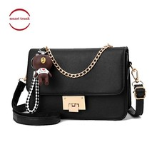2019 Fashion PU Small Flap Casual Shoulder Crossbody Bag Bear Strap Chains Ladies New Party Travel Women Messenger Bags