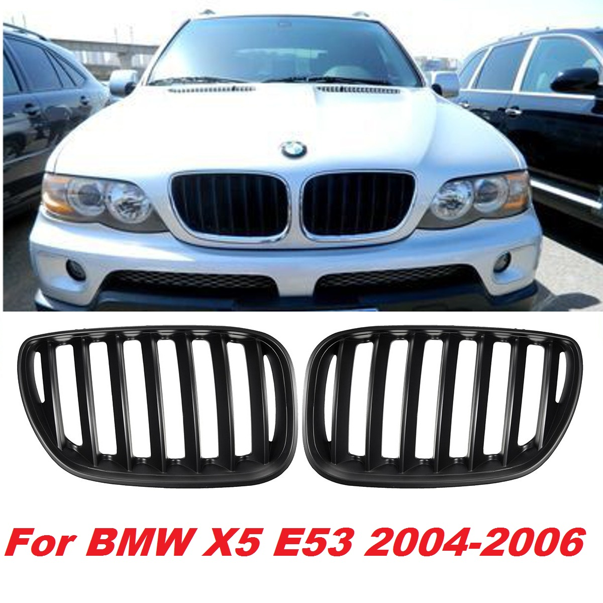 Pair Matte Black Chrome Front Hood Kidney Sport Grills Grille for BMW X5 E53 2004-2006  Front Bumper Grille Car StylingPair Matte Black Chrome Front Hood Kidney Sport Grills Grille for BMW X5 E53 2004-2006  Front Bumper Grille Car Styling