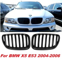 Pair Matte Black Chrome Front Hood Kidney Sport Grills Grille for BMW X5 E53 2004 2006 Front Bumper Grille Car Styling