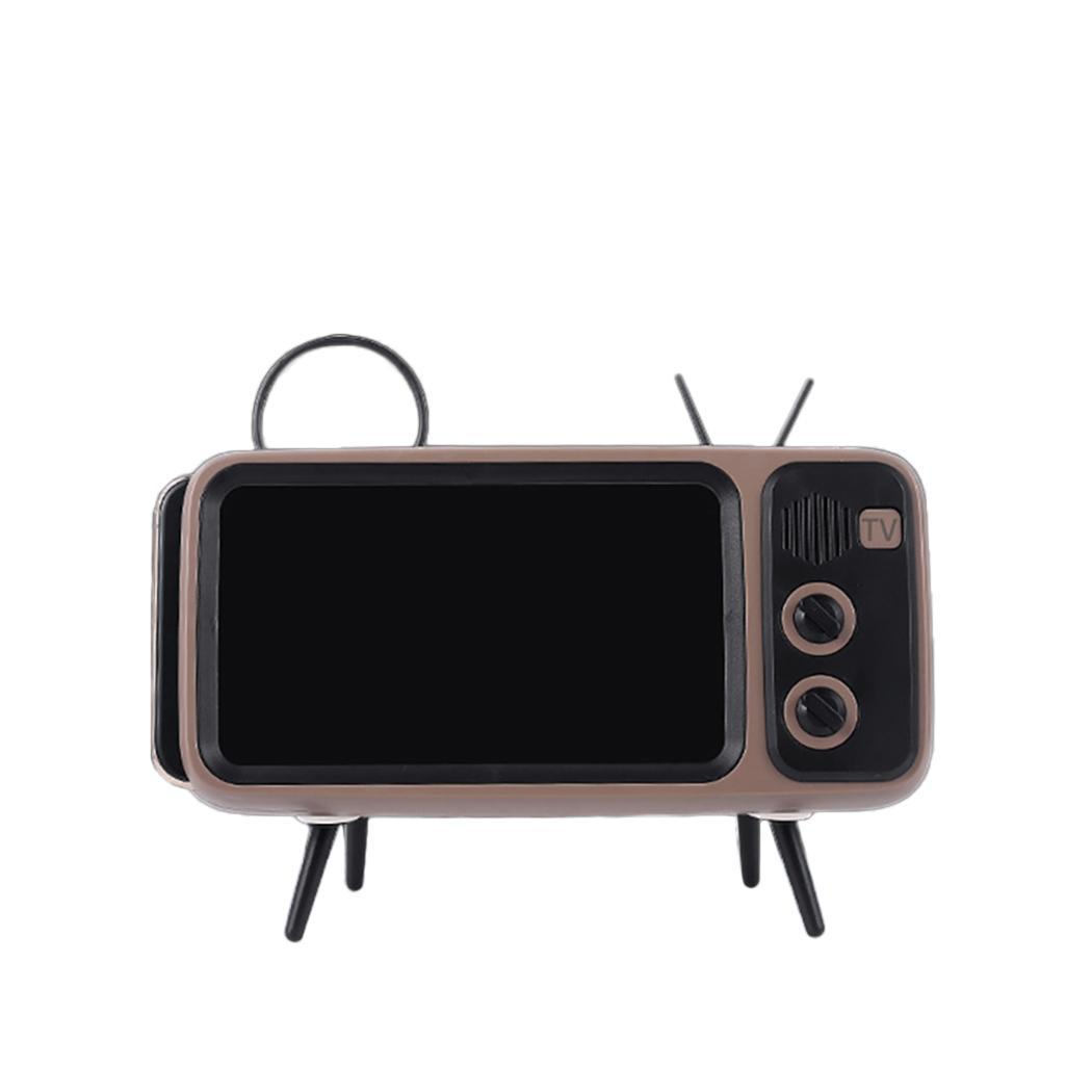 Portable Wireless Retro Television Shaped Mini Bluetooth Phone Holder Speaker