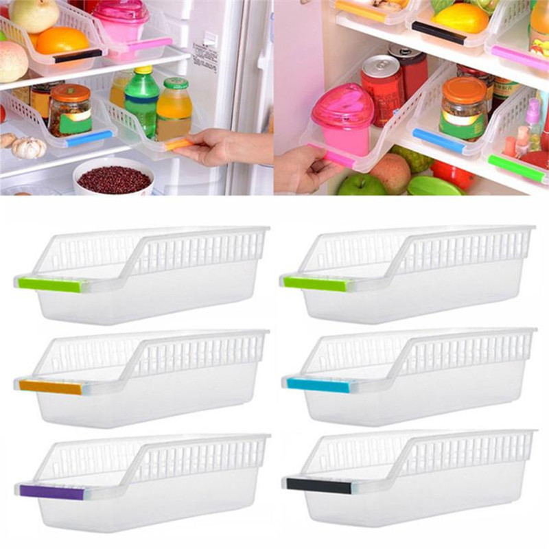 Pretty Kitchen Refrigerator Space Saver Wear-resistant Organizer Slide Shelf Rack Rack Food Safe Plastic Holder Storage