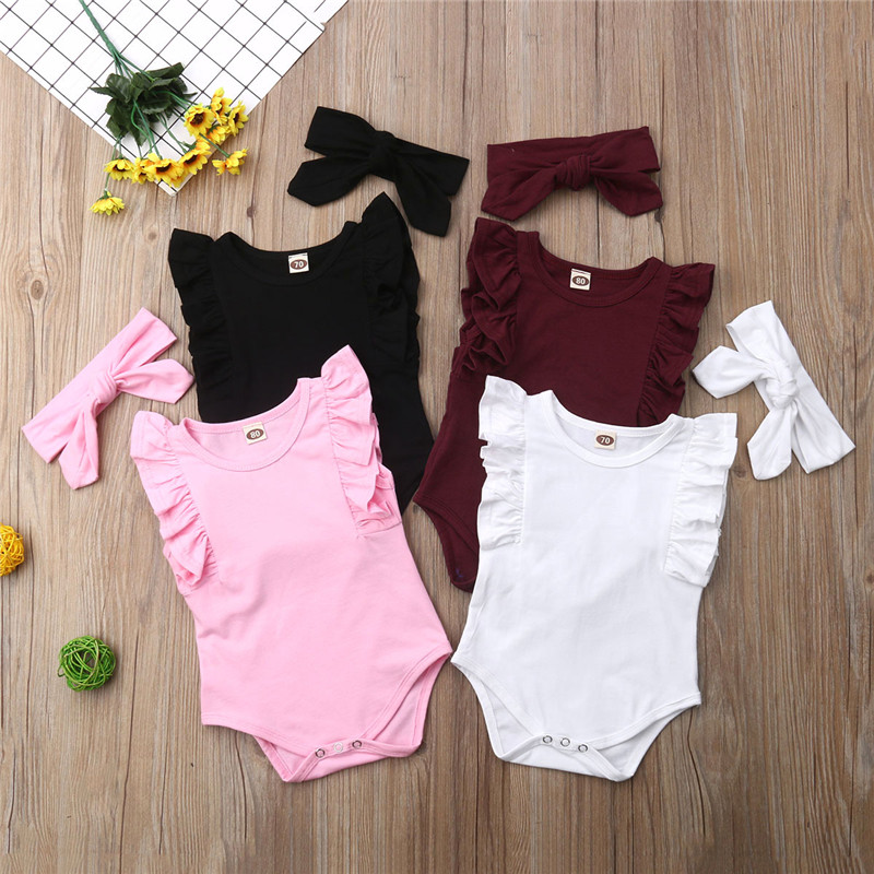 Baby Girls One Pieces Clothes Newborn Summer Sleeveless Bodysuits With Headband Ruffles Girl Bodysuits Body Bebe Roupas De Bebe