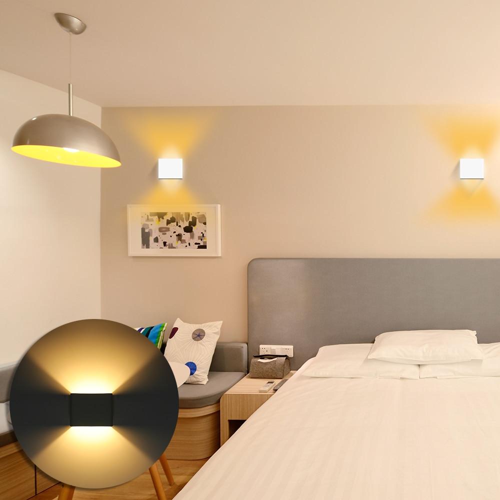 Led Lamps Punctual Wall Lamp Lampada Led Aluminium Wall Light Up Down Light Aluminum Cubic Square Led Wall Lamp Room Bedroom Wall Lamps Arts Strengthening Sinews And Bones