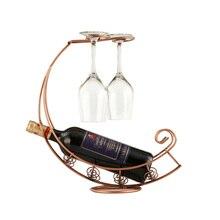 Retro Wine Bottle Holder Wine Rack Champagne Bottles Stand Glass Cup Holder Display Hanging Drinking Glasses Stemware Rack She