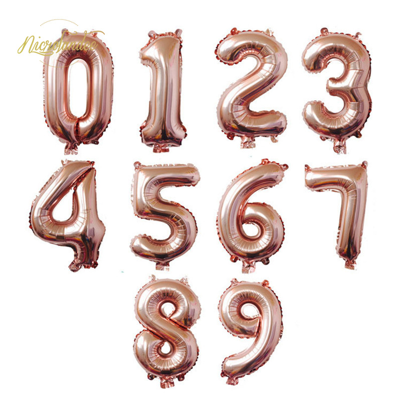 NICROLANDEE 32 inch Rose Gold Silver Blue Pink Inflatable Number Balloons Air Happy Birthday Wedding  Decoration Event PartyNICROLANDEE 32 inch Rose Gold Silver Blue Pink Inflatable Number Balloons Air Happy Birthday Wedding  Decoration Event Party