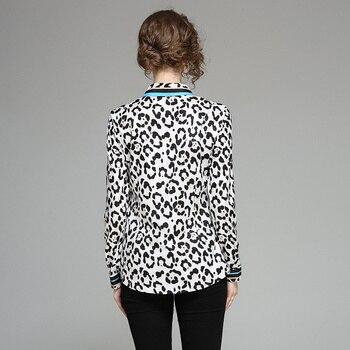 Blusas manga larga leopardo casual oficina 1