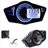 Mayitr 1pc Universal 14000rpm Blue LCD Digital Motorcycle Odometer Speedometer Tachometer Gauge MAX 199KM/H