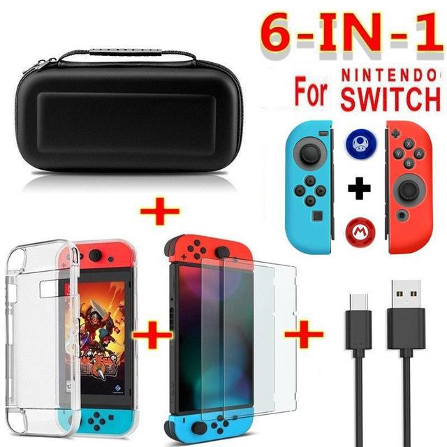 BEESCLOVER 6 in 1 game accessory set For Nintend Switch Travel Carrying Bag Black blue Screen Protector Case Charging Cable r25