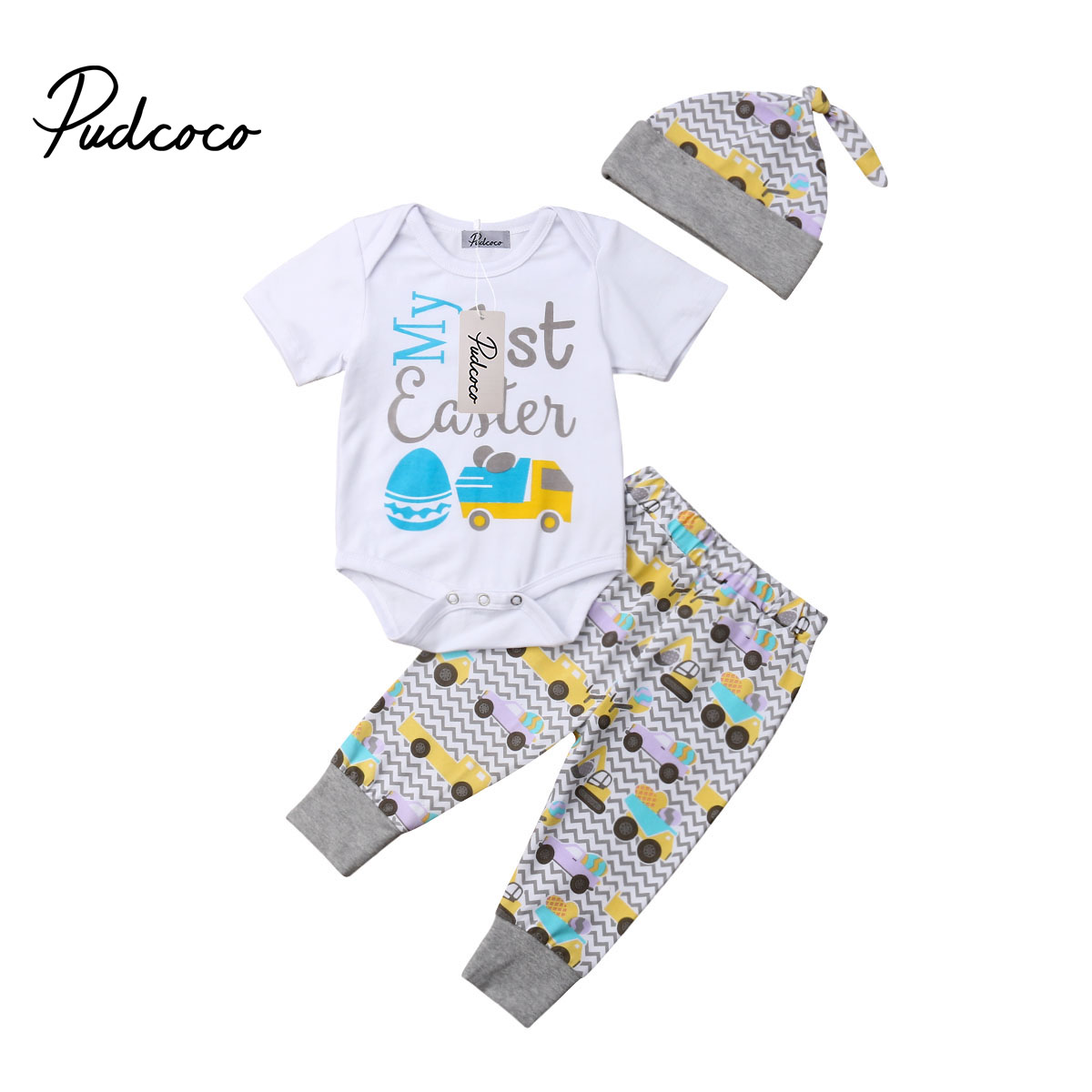 pudcoco Casual <font><b>Clothing</b></font> Set Cotton 2Pcs <font><b>Baby</b></font> Toddler Boys Girls <font><b>Unisex</b></font> Kid 1st Easter Romper+Pant+Hat 2019 Print Clothes Outfits image