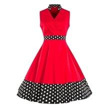 2019 Women Dress Retro Rockabilly Floral Print Red Contrast High Waist A Line Skater Dresses Vintage Polka Dot Dress Mujer недорого