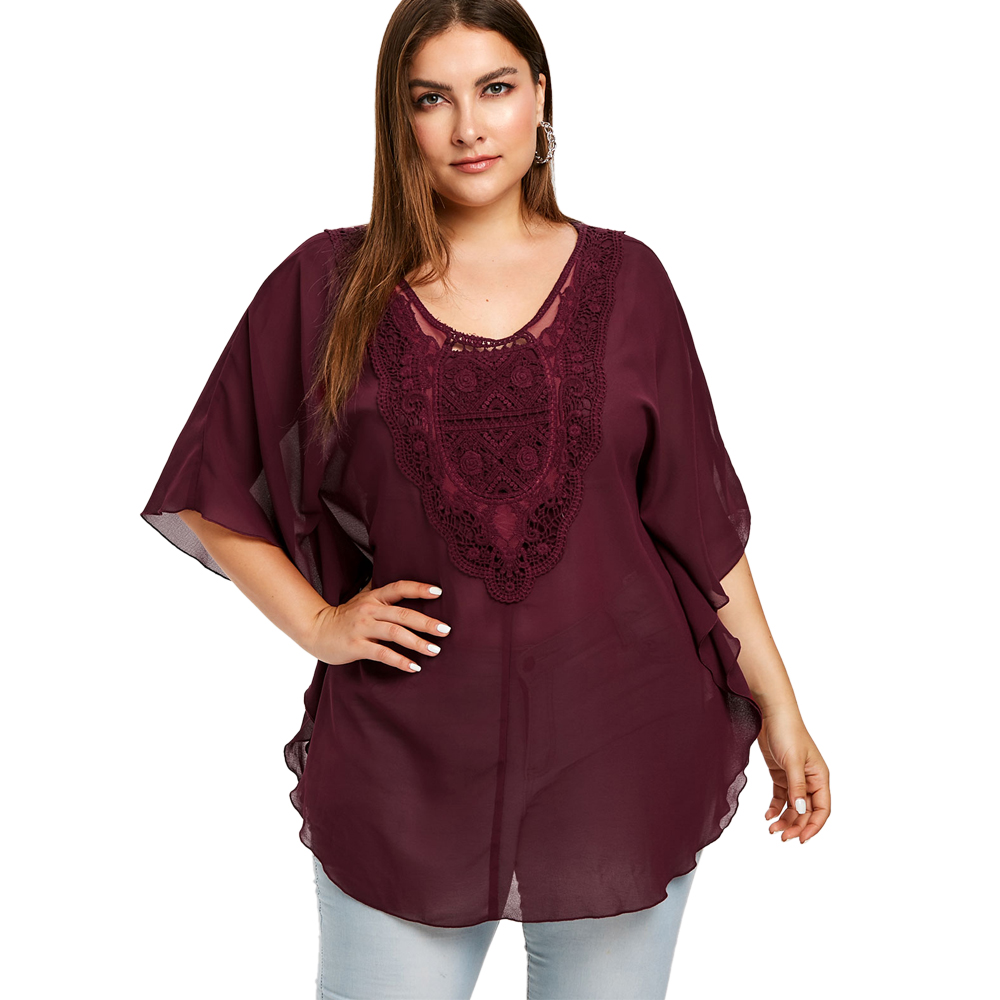 Bohemian Half Sleeve Summer   Blouses     Shirt   2019 New Plus Size Ethnic Style Crochet Chiffon Long Tunic Spring Women   Blouse   And Top