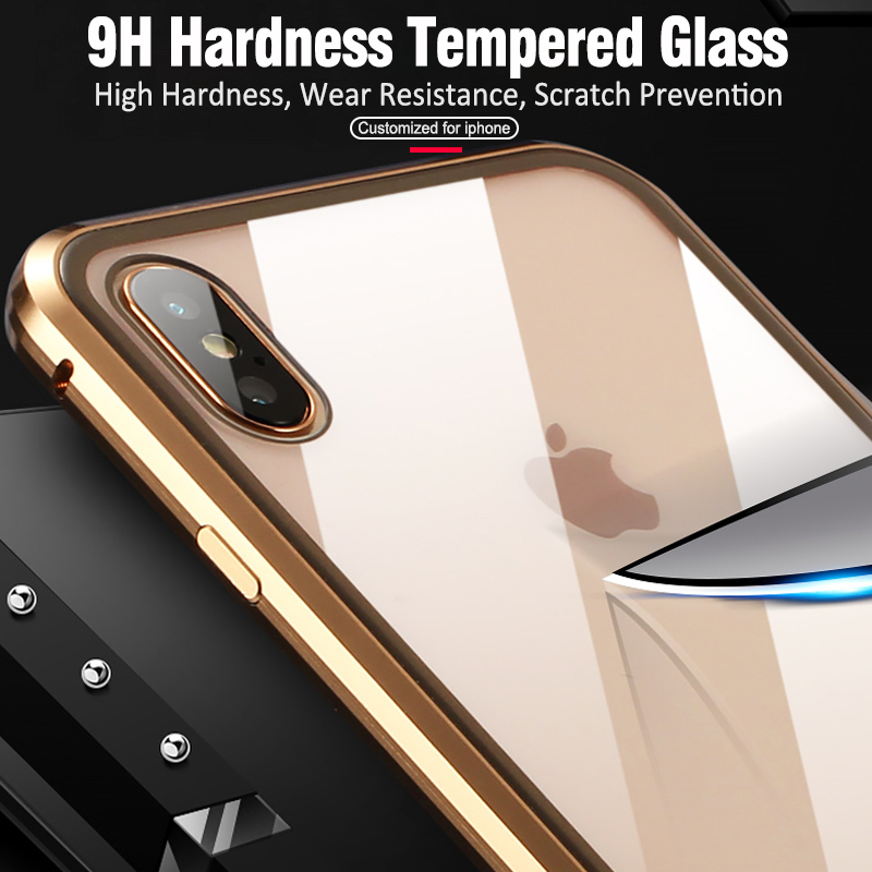Image 3 - Double sided glass Metal Magnetic Case for iPhone X 10 XS MAX XR Glass Case Magnet Cover 360 Full Protection For iphone XS Max-in Fitted Cases from Cellphones & Telecommunications