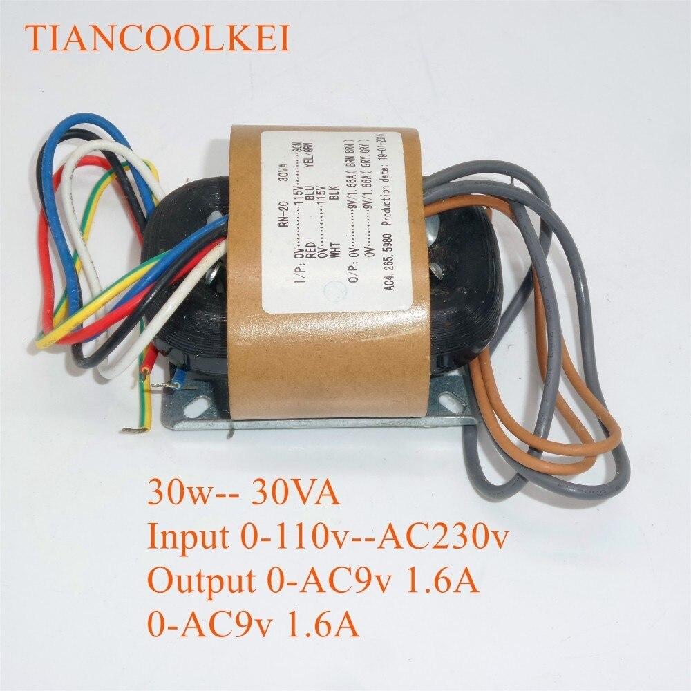 30W 0-115V-230V R Type Power Isolated Transformer Dual 9V 12V 15V 18V 24V HiFi Audio Transformer For Pre amplifier board