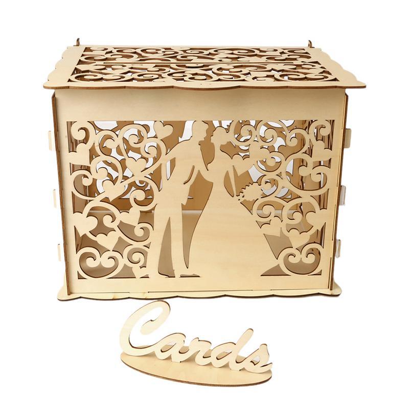2019 New Wooden Box Wedding Supplies DIY Couple Deer Bird Flower Pattern Grid Business Card Wooden Box