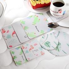 купить Kitchen Coasters Bowl Mat Flamingo Green Leaf Print Paper Coaster Mat Cup Pad Non-Slip Insulation Cup Mat Pad Hot Drink Holder по цене 37.62 рублей