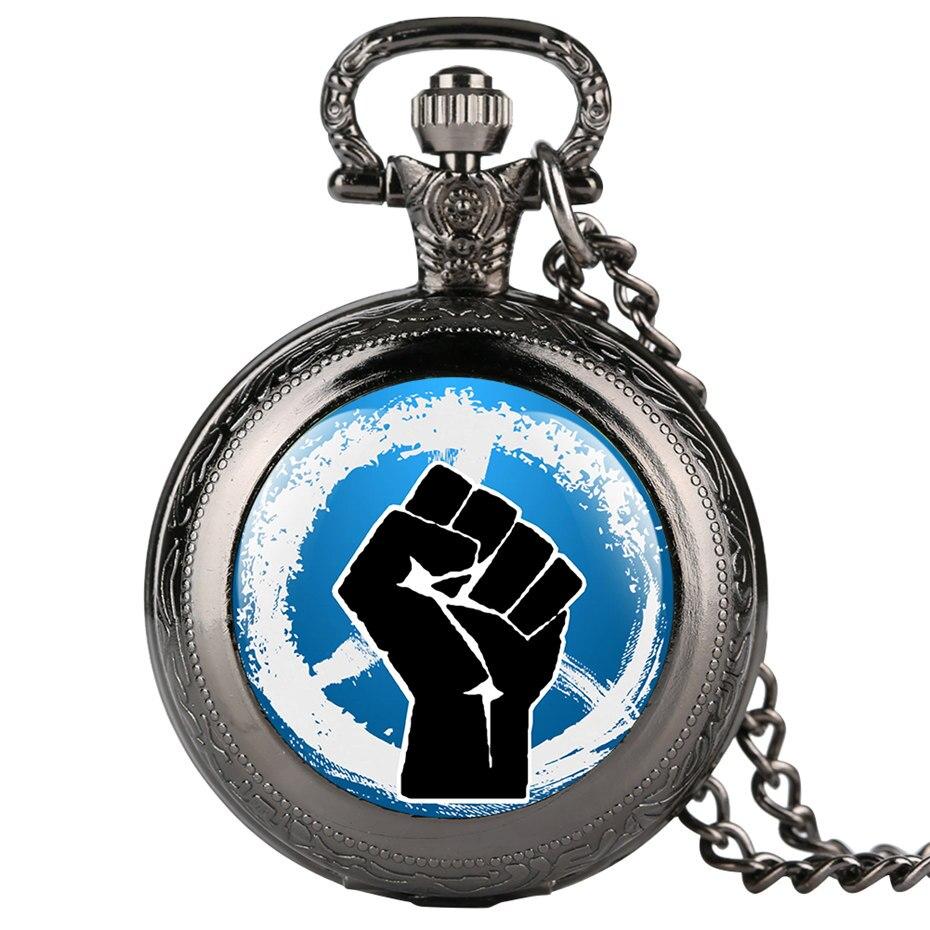 Cool Black Fist Men Watches 2019 New Quartz Pocket Watch Men Necklace Pendant Vintage Style Fob Clock Man Gifts