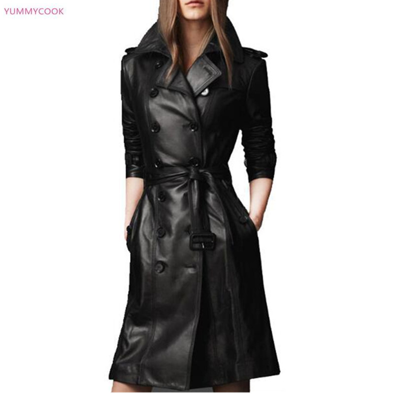 29a0d5cc6f01 Largo Black Cuero Mujeres Cuello De Outwear Abrigo Invierno Medio Chaqueta  Otoño 178 wB7RYR