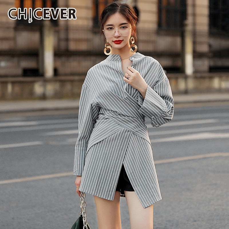 CHICEVER Striped Womens Tops And Blouses Shirts Stand Collar High Waist Irregular Hem Blouse Tops Female Korean Fashion Clothing