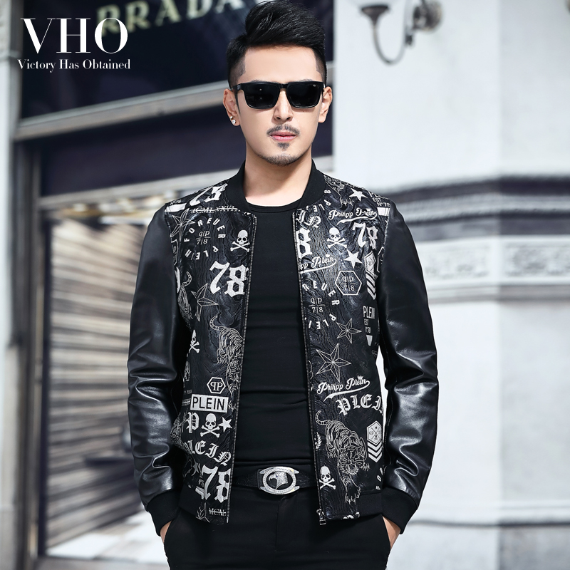 VHO Jacket Biker-Leather Sheepskin-Coats Real Print Fashion Stand Short for Men