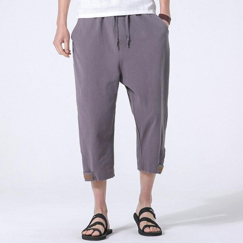 #4594 Sommer 2019 Grau/schwarz/blau Baumwolle Leinen Harem Hosen Elastische Taille Breite Bein Retro Plus Größe 5xl Stickerei Chinesischen Stil