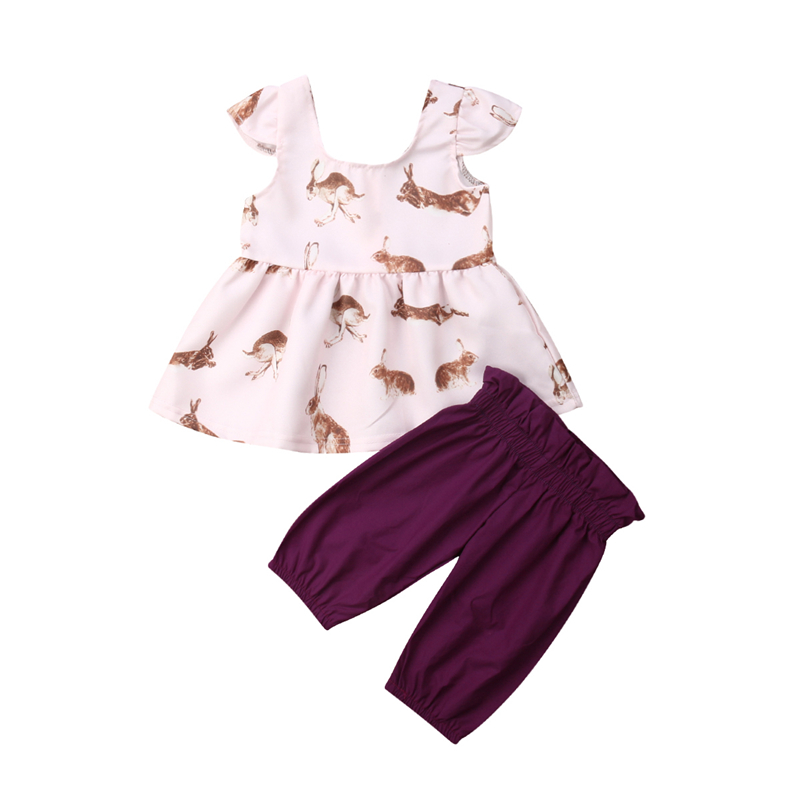 Girls Baby Clothes Newborn Clothing Bunny Print T-shirt Tops Shorts Baby Girl Summer Clothes Girls Clothing Set Newborn Outfit