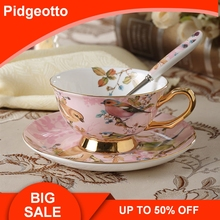 European Bone China Golden Coffee Cup Set Luxury Handmade Ceramic Afternoon Teacup Exquisite Coffee Cup And Saucer Free Shipping цена