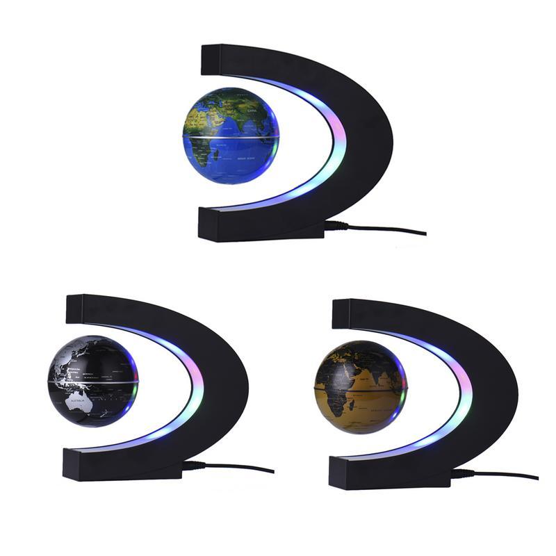 Globo mapa del mundo LED tellurión flotante en forma de C levitación magnética flotante con luces LED EU/US/UK/AU enchufe para la decoración del hogar