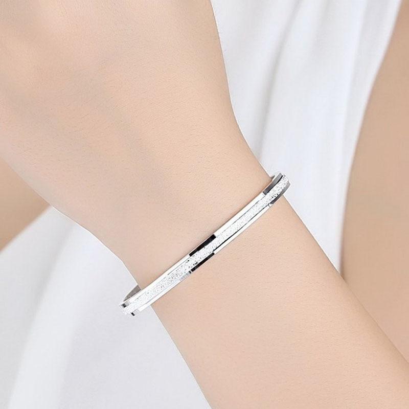 Scrub Rose Gold Metal Bangles Heart Forever Love Charm Bracelet Jewelry