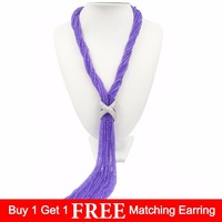 LiiJi Unique Natural Purple jades Beads Silver Plated Freshwater Pearl Necklace/No pearl
