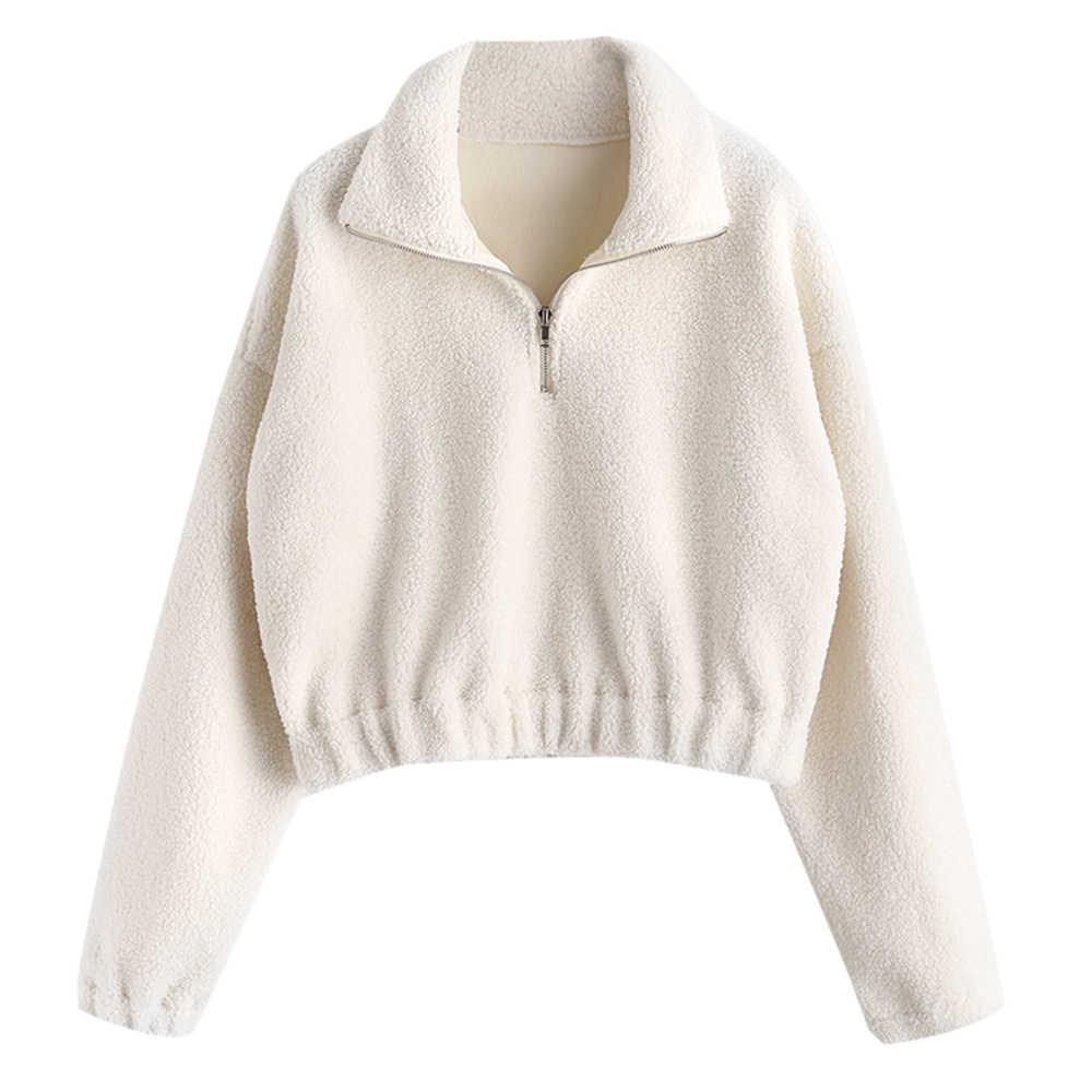 ... AZULINA Mock Neck Plain Faux Fur Sweatshirt Half Zipper Sweatshirts  Sherpa Hoodies Women Clothing Solid Color ... 799f6ff0f