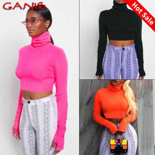 f11e67c5c ... 2019 New High Neck T Shirt Women Slim Bardot Long Sleeve Jumper Shirt  Winter Autumn Ladies ...