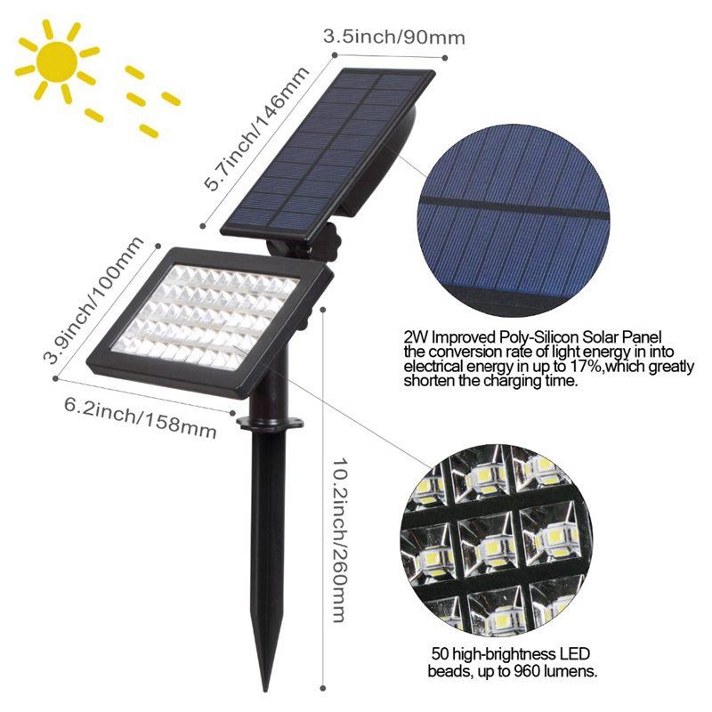 CLAITE 2 Вт Солнечный свет лампы светодиодный 50 светодиодный пейзаж пятно света Открытый сад IP44 водостойкий Газон лампа