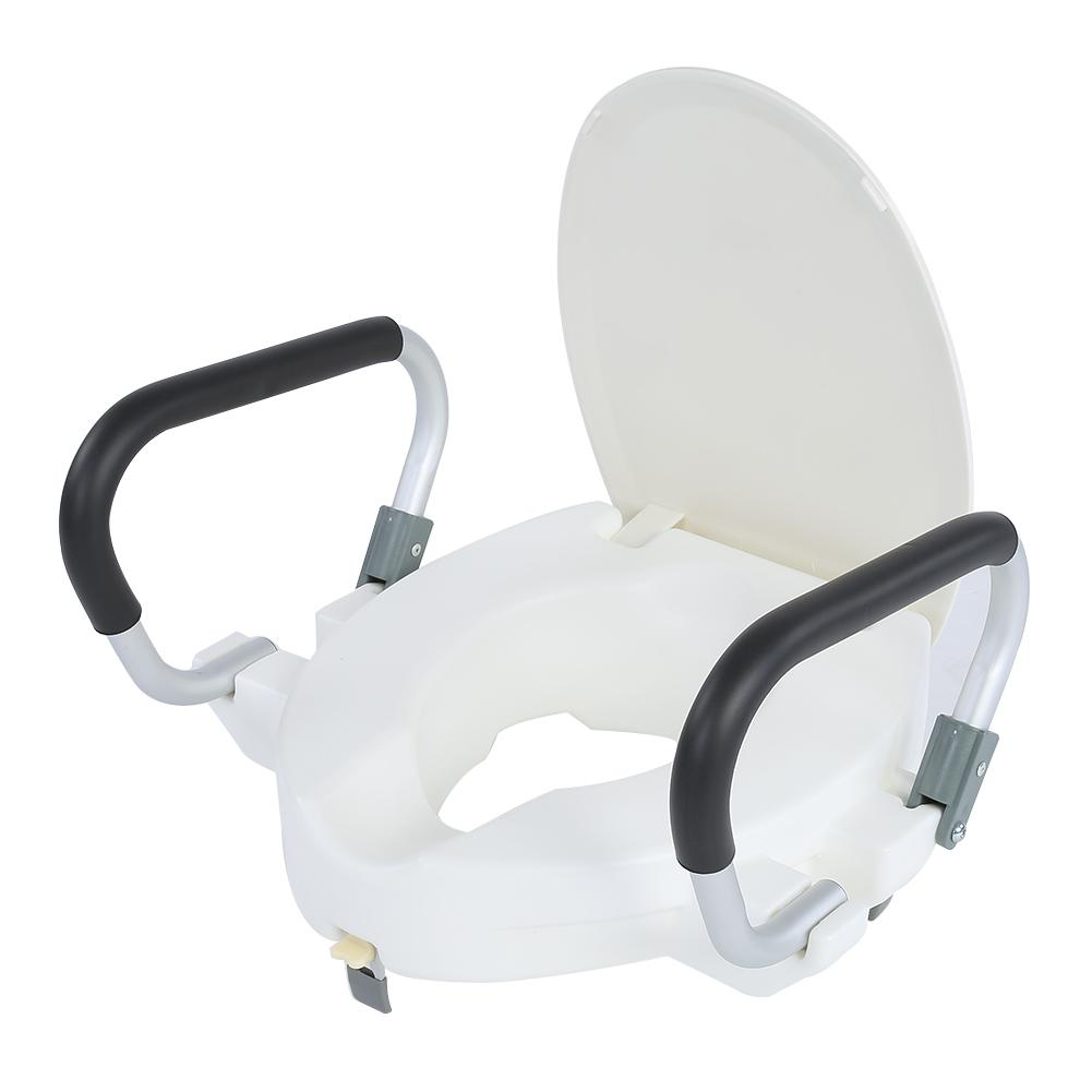10cm Elevated Raised Toilet  With Lid Removable Padded Arms White Tool