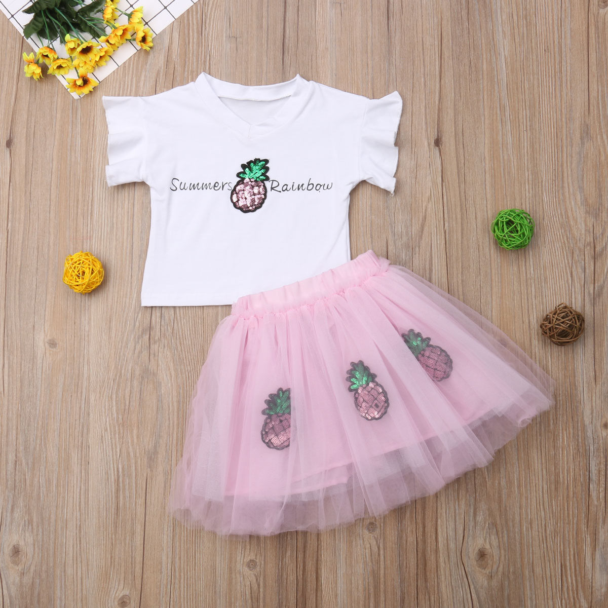 14deb67ce6 2018 Multitrust Brand Summer Kids Baby Girls Pineapple Rainbow Sequin Tops  T-shirt Tulle Skirt Tutu Outfit Summer Cute Set