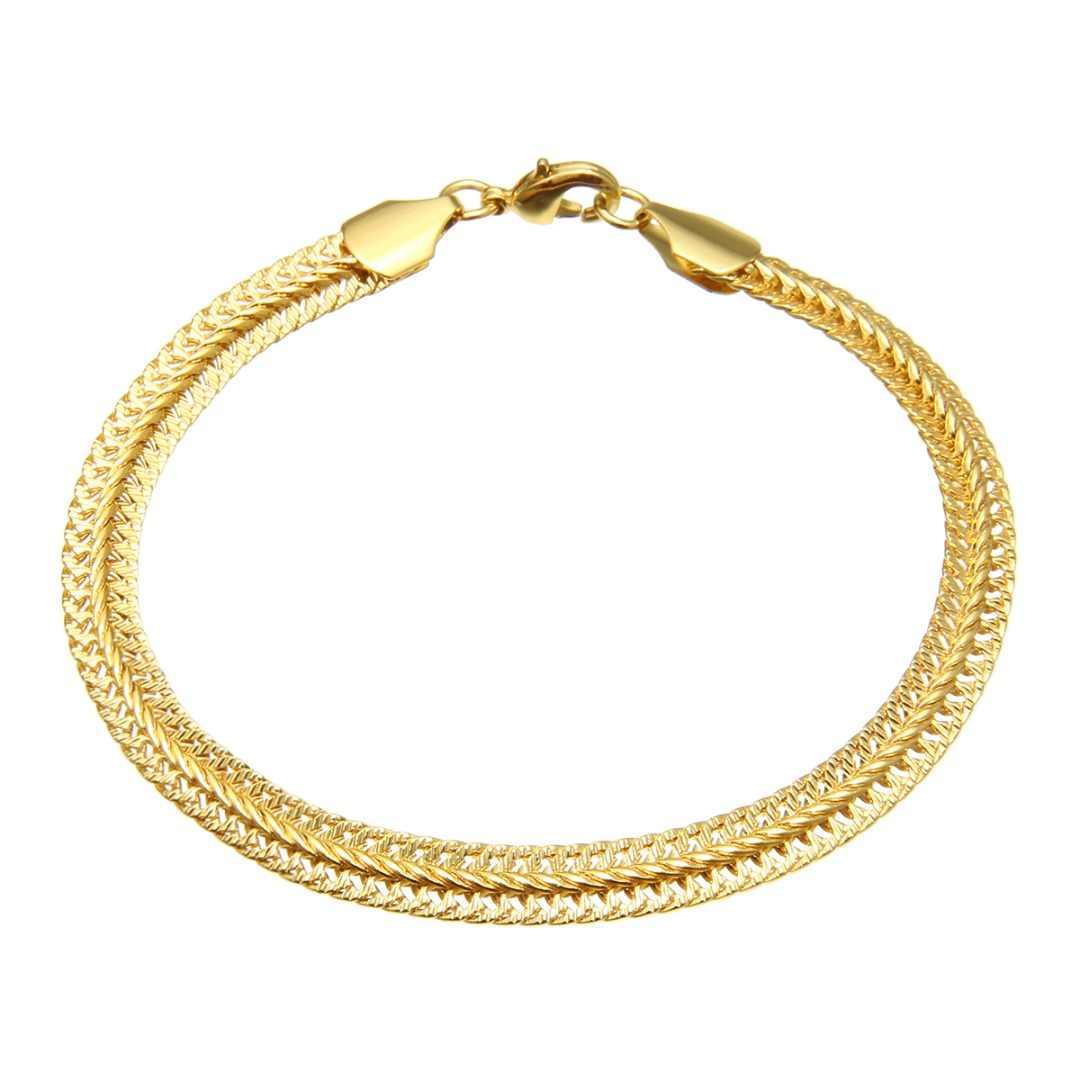 7mm punk men flat aço inoxidável pulseira & bangle clássico feminino hip hop prata ouro link corrente presente para o amante shellhard jóias