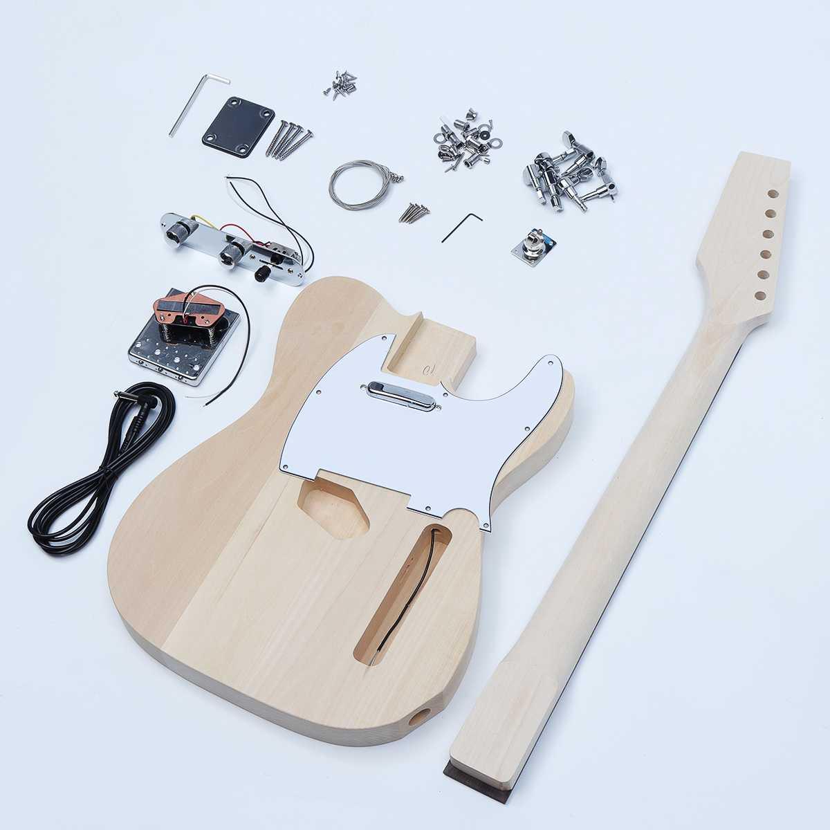 Électrique bricolage Guitare Accessoires Remplacement Kit Hêtre Bois manche en Érable Corps 6 instrument à cordes Guitare Pièces Semi-finis