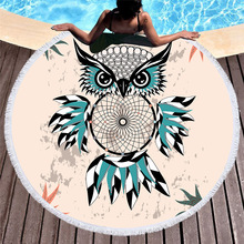 Owl Dreamcatcher Round Beach Towels Tassels Cartoon Printed Microfiber Towel Summer Yoga Mat Blanket Large Bath Toallas For Kids
