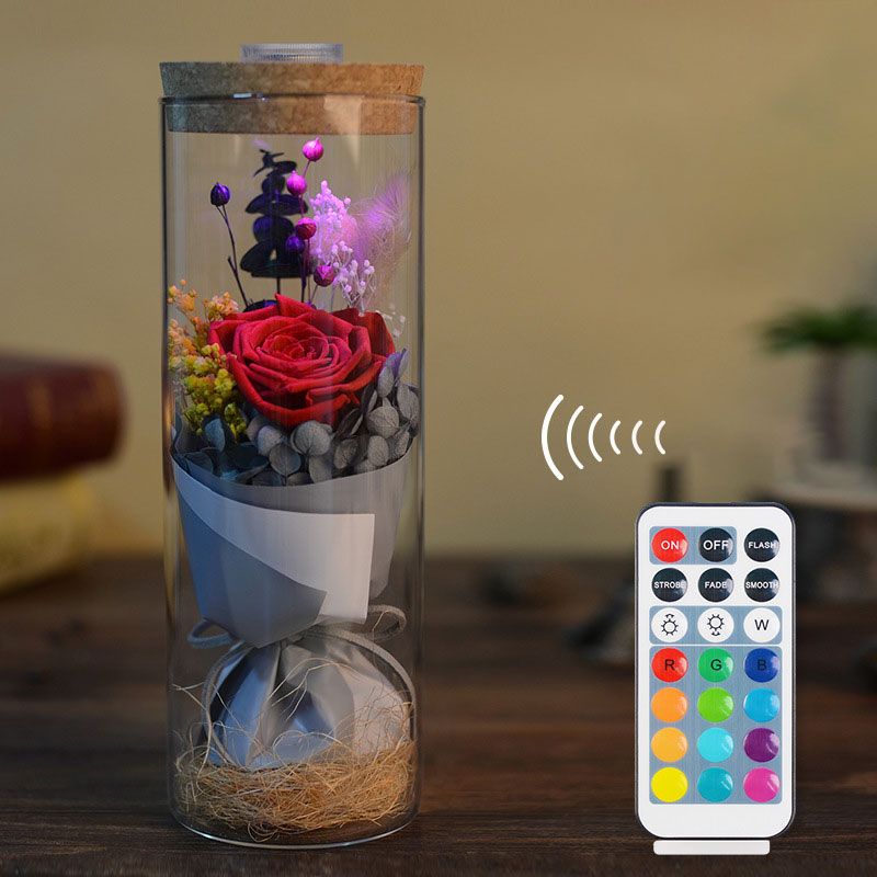 LED RGB Dimmer Lamp Rose Flower Bottle Light With Remote Control Night Light For Birthday Gift Bedside Lamp Home Decoration D