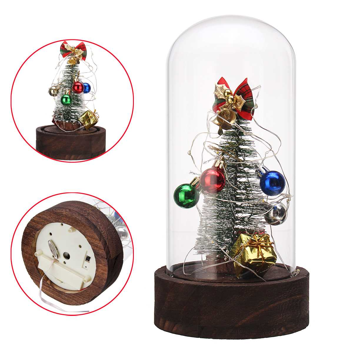 цена на Christmas Tree Jingle Bell Ornaments Gift Glass Dome Bell Jar + Fairy LED Lights Wooden Base with Music Box Song For Home Decor